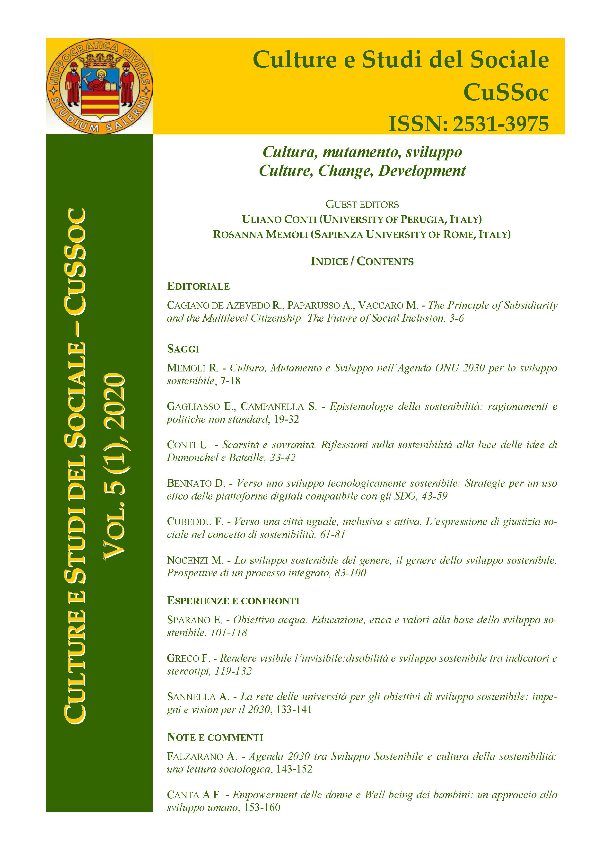 View Vol. 5 No. 1 (2020): Cultura, mutamento, sviluppo / Culture, Change, Development - Guest Editors, Uliano Conti (University of Perugia, Italy) & Rosanna Memoli (Sapienza University of Rome, Italy)
