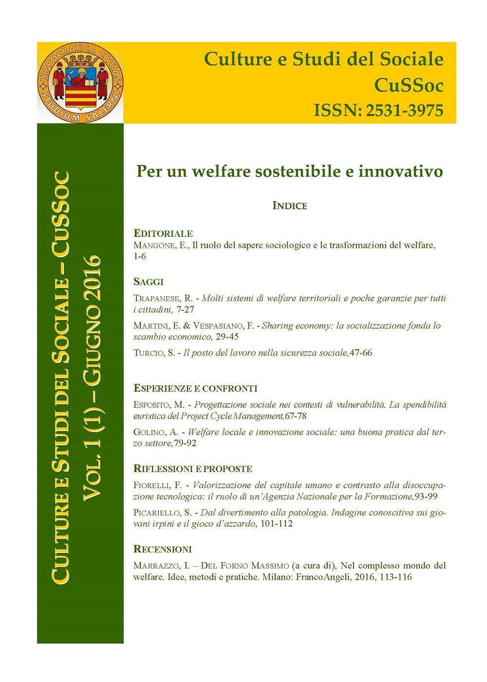 View Vol. 1 No. 1 (2016): Per un welfare sostenibile e innovativo