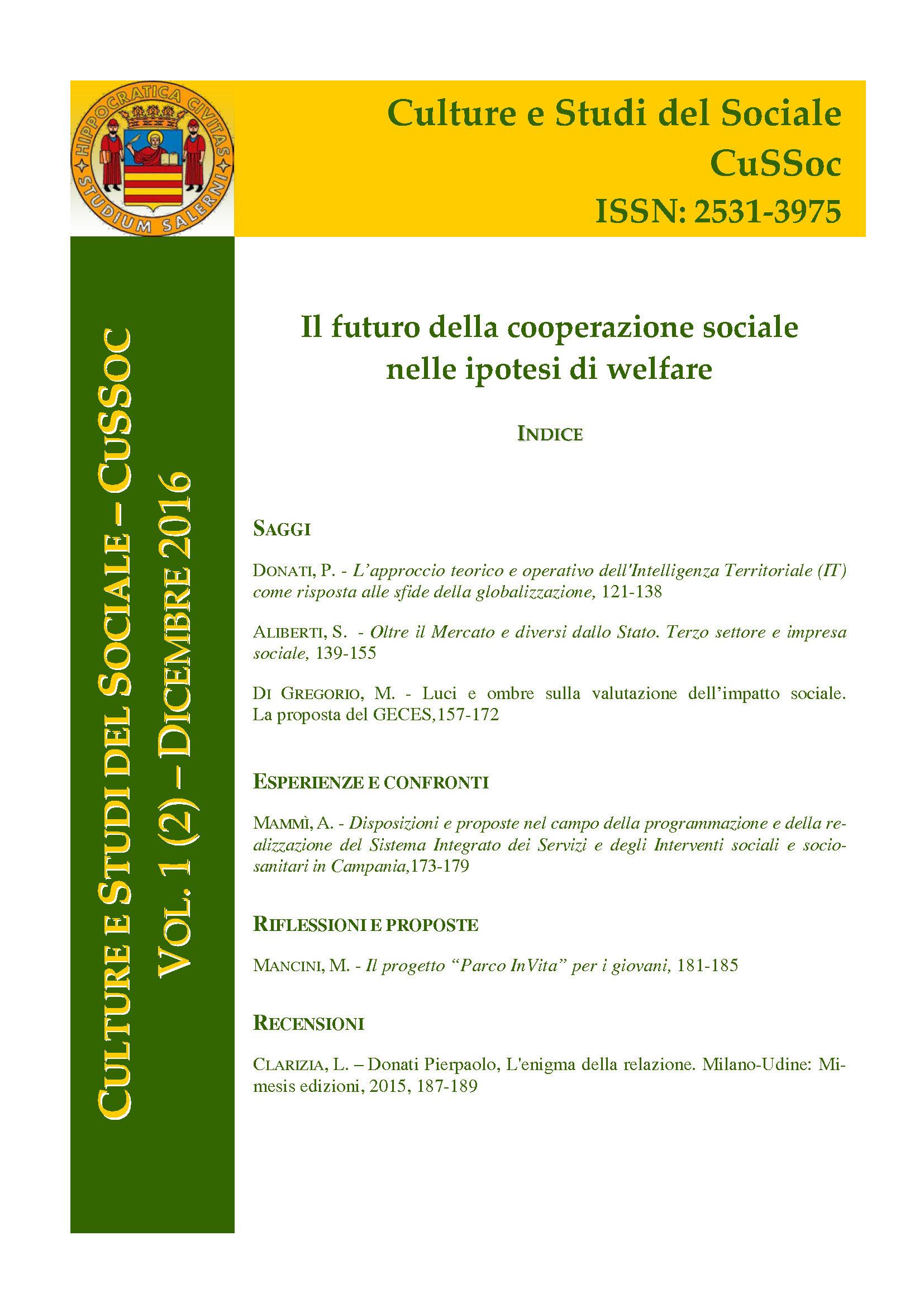 View Vol. 1 No. 2 (2016): Il futuro della cooperazione sociale nelle ipotesi di welfare