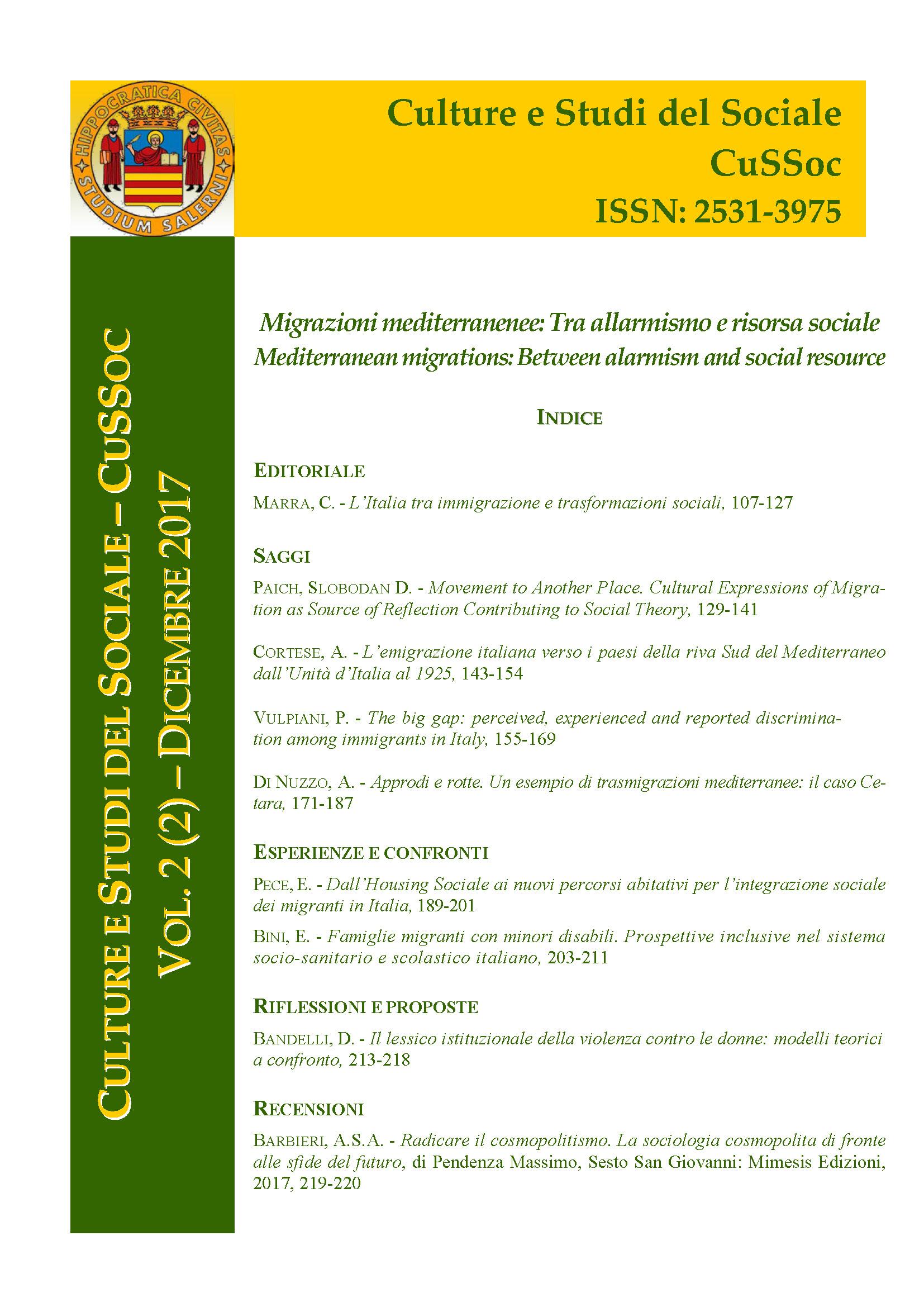 View Vol. 2 No. 2 (2017): Migrazioni mediterranee: Tra allarmismo e risorsa sociale / Mediterranean migrations: Between alarmism and social resource