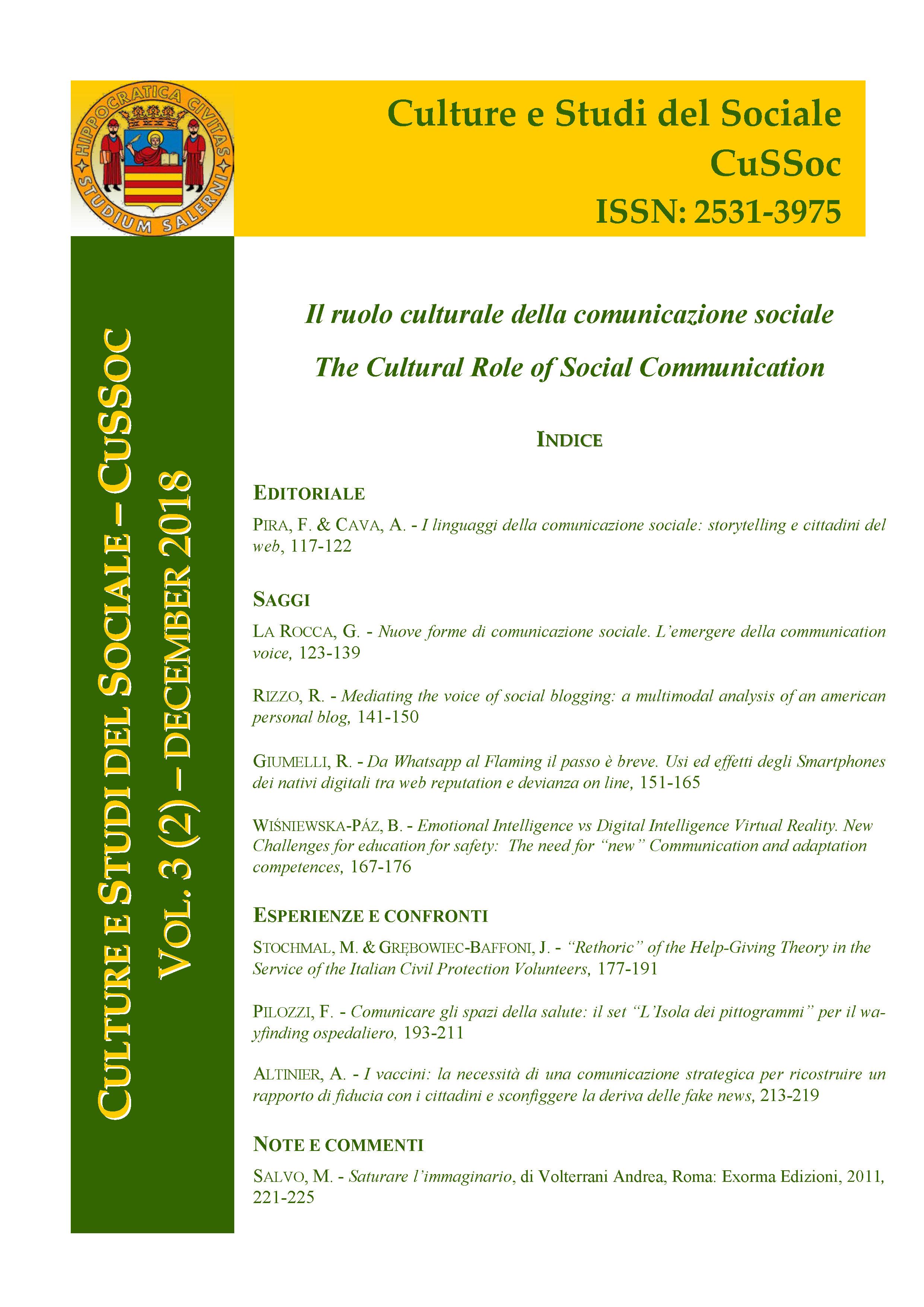 View Vol. 3 No. 2 (2018): Il ruolo culturale della comunicazione sociale / The Cultural Role of Social Communication