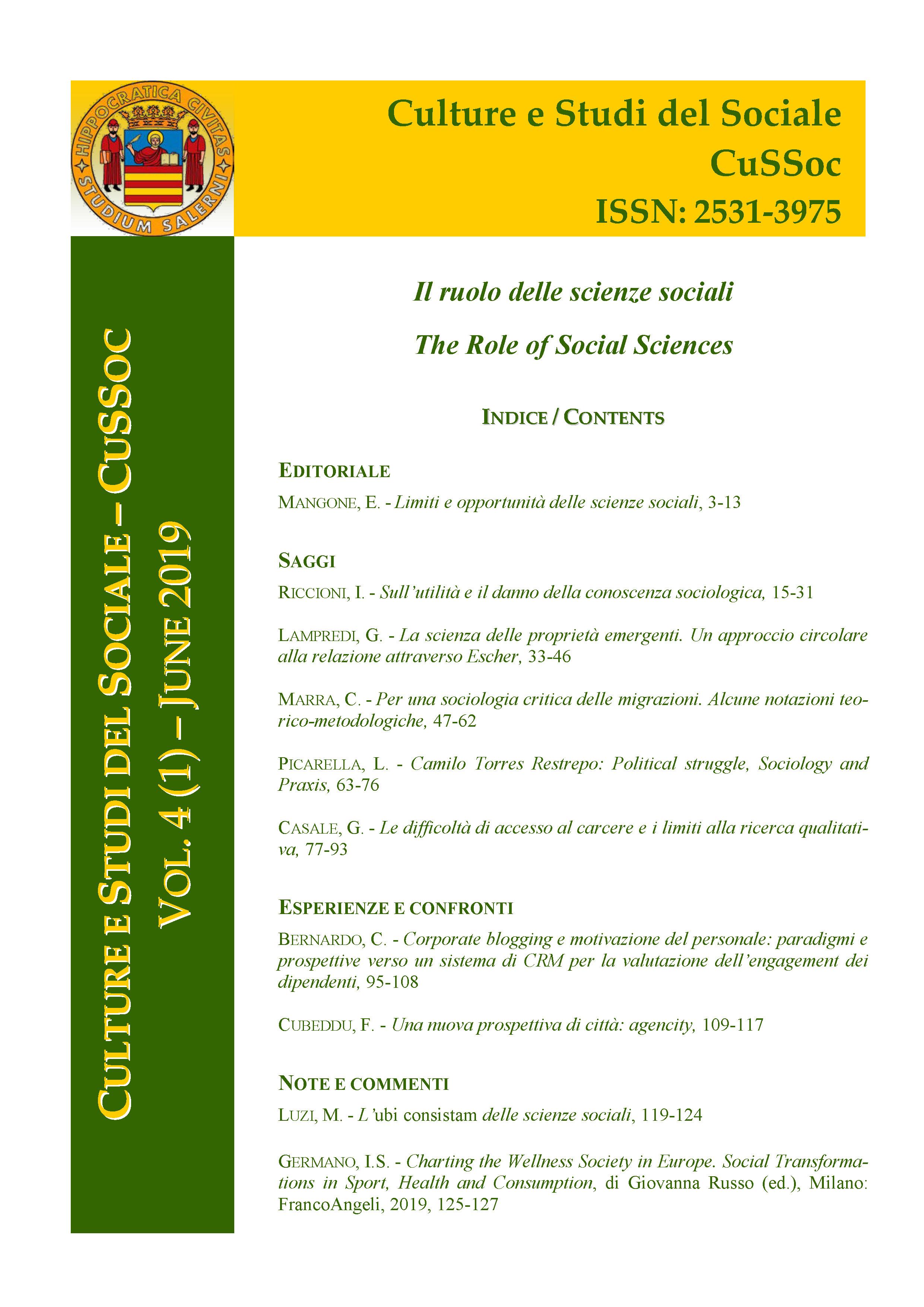 View Vol. 4 No. 1 (2019): Il ruolo delle scienze sociali / The Role of Social Sciences