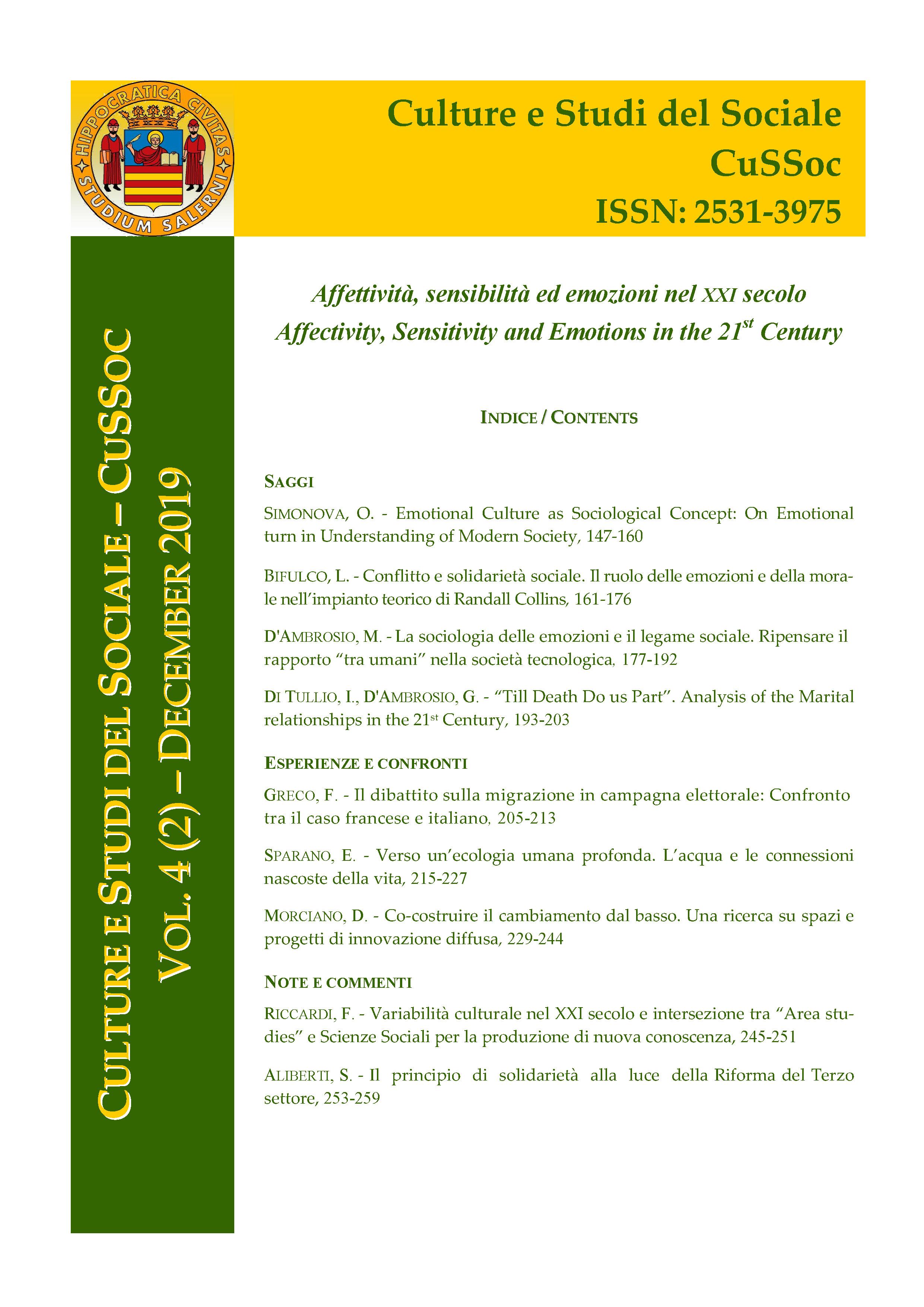 View Vol. 4 No. 2 (2019): Affettività, sensibilità ed emozioni nel XXI secolo / Affectivity, Sensitivity and Emotions in the 21st Century